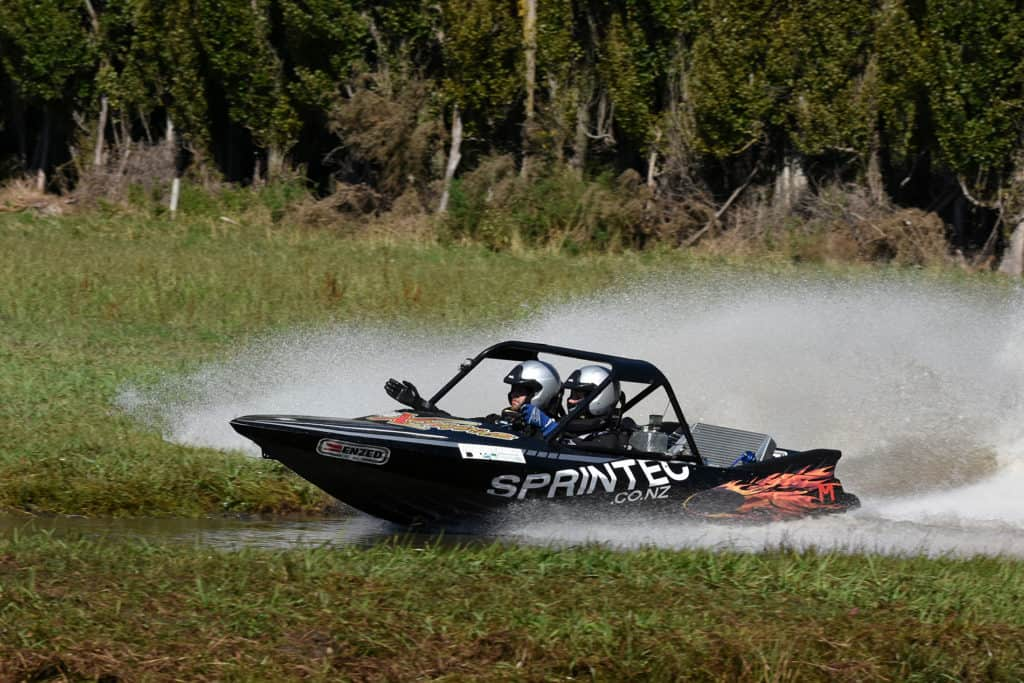 Peter Caughey racing one of his own jet sprint Sprintec boats