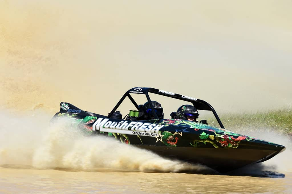 jet sprint racer Rob Coley owns several Sprintec boats and regularly puts them through their paces like in this photo
